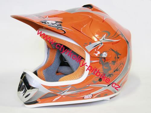b9ef8449d88 Dětská moto helma oranžová na minikross a čtyřkolku