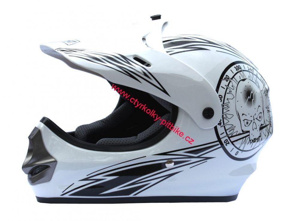 e93d637f89f Dětská moto přilba JST bílá na minicross