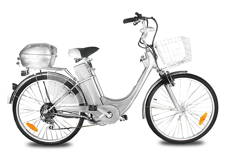 "ELEKTROKOLO - city bike 26"" 250 Wattů - silver"